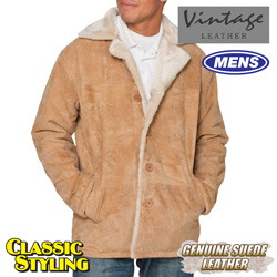 Suede Shearling Jacket - Beige  Model# 23600-BEIGE