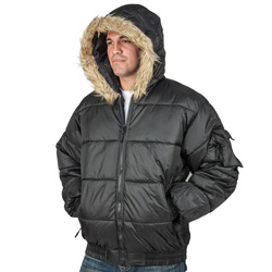 Bubble Jacket with Fur Hood  Model# JK6000BK