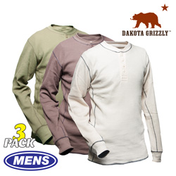 3 Pack Dakota Grizzly Henleys  Model# 98210