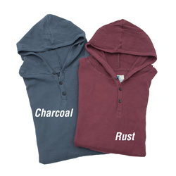2 Pack Hooded Thermals - Charcoal/Rust  Model# MKL-0782B