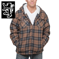 Flannel Hooded Jacket - Brown  Model# 250021-BROWN