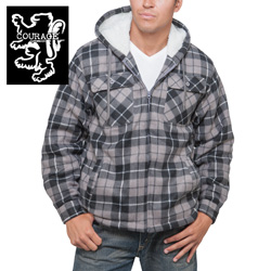 Flannel Hooded Jacket - Black  Model# 250021-BLACK