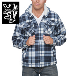 Flannel Hooded Jacket - Navy  Model# 250021-NAVY