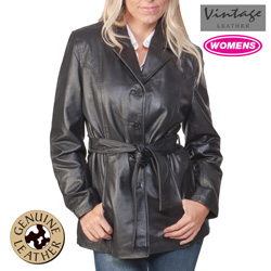 Belted Leather Coat  Model# 21090