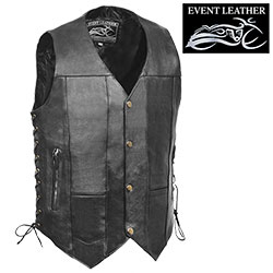 10-Pocket Leather Motorcycle Vest - Size: Medium 96905C