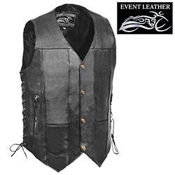 10-Pocket Leather Motorcycle Vest - Size: Large 96905D