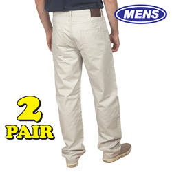 2 Pack Haggar Twill Pants&nbsp;&nbsp;Model#&nbsp;STONE