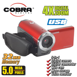 Cobra 5MP Digital Camera/Camcorder&nbsp;&nbsp;Model#&nbsp;DVC970-RED