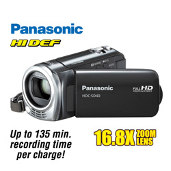 Panasonic HD Camcorder  Model# HDCSD40