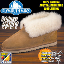 Womens Plymouth Mocs Leather Ankle Slippers  Model# WOS-HANK-02