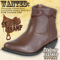 Saddle Tramp Brown Western Half Boots&nbsp;&nbsp;Model#&nbsp;A8002-BROWN