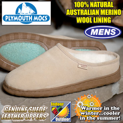 Plymouth Mocs Mens Clog Leather Slippers  Model# 0316M