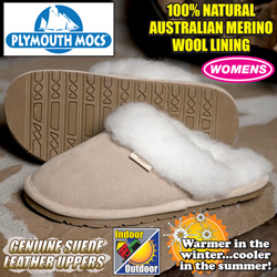 Plymouth Mocs Womens Scuff Leather Slippers  Model# S300L