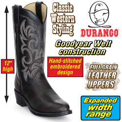 Durango Black Western Boots&nbsp;&nbsp;Model#&nbsp;LEM310