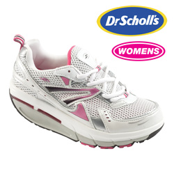 Womens Dr. Scholls White/Fuchsia Shoe  Model# INSPIRE WHITE/FUCHSIA