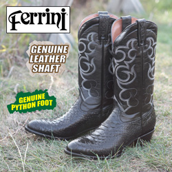 Ferrini Python Boots - Black  Model# 10611-04