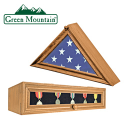 Wood Flag &amp; Medal Display Boxes