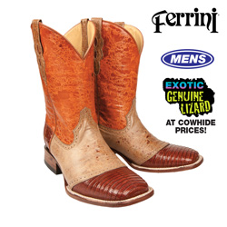 Ferrini Teju Lizard Boots - Peanut Brown  Model# 21193-11