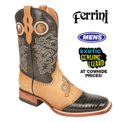 Ferrini Teju Lizard Boots - Black&nbsp;&nbsp;Model#&nbsp;201193-04