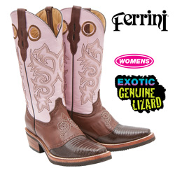 Ferrini Lizard Boots - Chocolate/Pink  Model# 81171-09