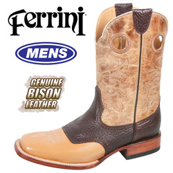 Ferrini Bison Boots - Antique Saddle  Model# 12893-15