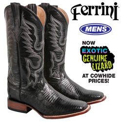 Ferrini Teju Lizard Boot - Black  Model# 11193-04