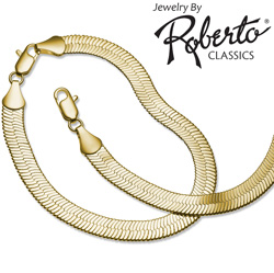 Herringbone 14k Gold Necklace and Bracelet  Model# 3