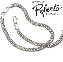 Oval Curb Sterling Silver Necklace and Bracelet&nbsp;&nbsp;Model#&nbsp;10