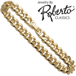 Oval Curb 14k Gold Bracelet  Model# 11