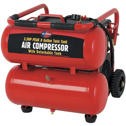 3.5 HP 8 Gallon Twin Tank Air Compressor with Detachable Tank&nbsp;&nbsp;Model#&nbsp;APC4007