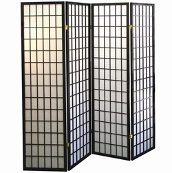 4-Panel Room Divider - Black&nbsp;&nbsp;Model#&nbsp;R530-4