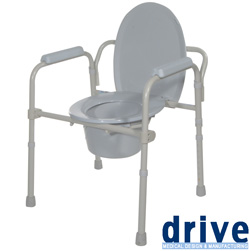 Folding Bedside Commode Seat with Commode Bucket  Model# 11148KDR-1