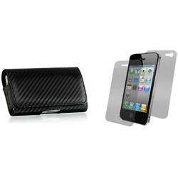 Premium Carbon Fiber Style Horizontal Case  Model# IP3GS-CarbonH