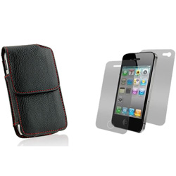 Premium Leather Vertical Case with Red Stitching  Model# IP3GS-VRST