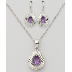 Pear Shaped Amethyst Earring & Necklace Set  Model# JS588-AM