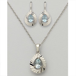 Pear Shaped Blue Topaz Earring &amp; Necklace Set&nbsp;&nbsp;Model#&nbsp;JS588-BT