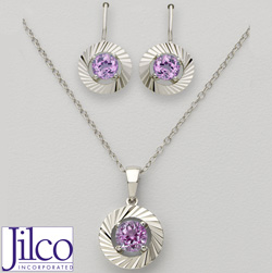Amethyst Earring &amp; Necklace Set&nbsp;&nbsp;Model#&nbsp;JS327-AM