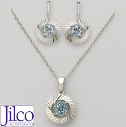 Blue Topaz Earring &amp; Necklace Set&nbsp;&nbsp;Model#&nbsp;JS327-BT
