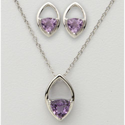 Trillion Amethyst Earring &amp; Necklace Set&nbsp;&nbsp;Model#&nbsp;JS589-AM
