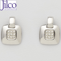 Diamond & Sterling Silver Door Knocker Earrings  Model# JE784