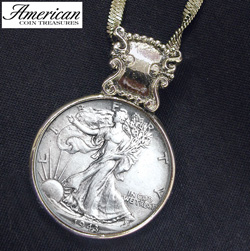 Silver Walking Liberty Half Dollar in Silvertone Bezel  Model# 115