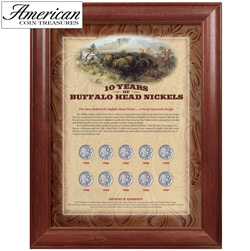 10 Years of Buffalo Nickels - Wood Frame  Model# 157