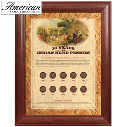 10 Years of Indian Head Pennies - Wood Frame&nbsp;&nbsp;Model#&nbsp;158