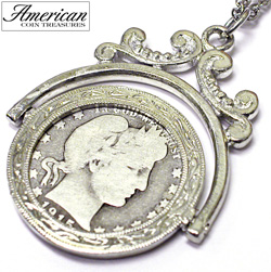 Silver Barber Quarter Spinner Pendant  Model# 251