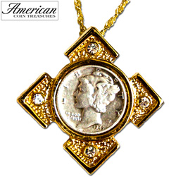 Mercury Dime Goldtone Art Deco Pendant  Model# 839