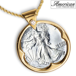 Silver Walking Liberty Half Dollar Goldtone Pendant with Crystal Bail 24 Inch Chain  Model# 842