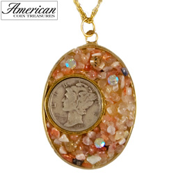 Silver Mercury Dime Natural Sunstone Pendant with Swarovski Crystal  Model# 1868