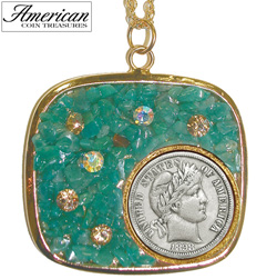 Silver Barber Dime Pendant with Amazonite Stone and Swarovski Crystal&nbsp;&nbsp;Model#&nbsp;1869