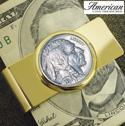 Half Dollar Goldtone Money Clip  Model# 2222