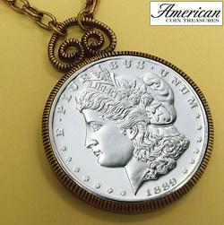 1889 Carson City (CC) Morgan Dollar Replica Pendant 30 Inch Chain&nbsp;&nbsp;Model#&nbsp;2262
